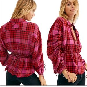 Free People plaid red and pink top